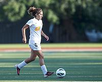 Western New York Flash midfielder Angela Salem (6) dribbles at midfield.  In a National Women's Soccer League (NWSL) match, Boston Breakers (blue) tied Western New York Flash (white), 2-2, at Dilboy Stadium on August 3, 2013.