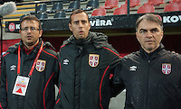 20151130 - LEUVEN ,  BELGIUM : Serbian coach Boris Arsic (L) and his technical staf  pictured during the female soccer game between the Belgian Red Flames and Serbia , the third game in the qualification for the European Championship in The Netherlands 2017  , Monday 30 November 2015 at Stadion Den Dreef  in Leuven , Belgium. PHOTO DIRK VUYLSTEKE