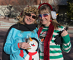 Clare and Jackie during the Ugly Sweater Wine Walk in downtown  Reno on Saturday, Dec. 16, 2017.