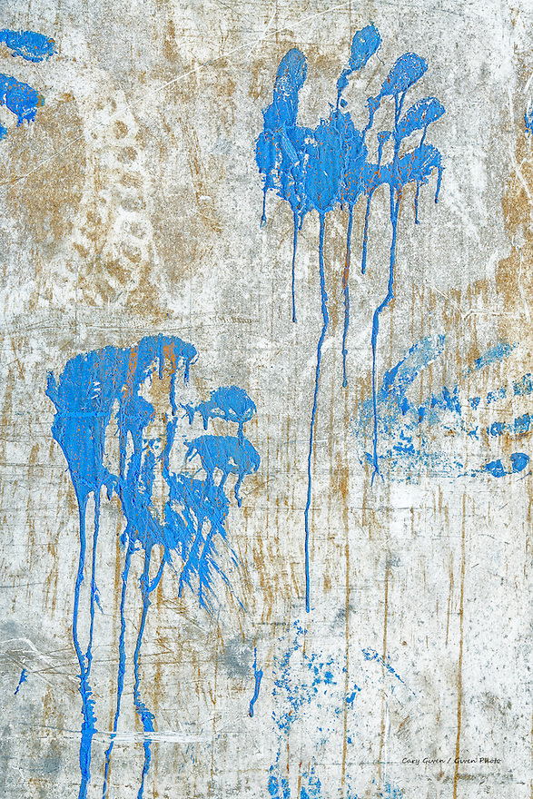Abstract; painted handprints