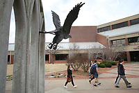 NWA Democrat-Gazette/DAVID GOTTSCHALK Students walk across campus after leaving the Cathedral of the Ozarks Tuesday, February 27, 2018, on the campus of John Brown University following chapel in Siloam Springs.