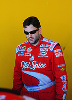 Feb 07, 2009; Daytona Beach, FL, USA; NASCAR Sprint Cup Series driver Tony Stewart during practice for the Daytona 500 at Daytona International Speedway. Mandatory Credit: Mark J. Rebilas-