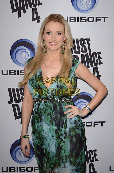 Holly Madison.Ubisoft Presents The Launch Of Just Dance 4  held at Lexington Social House, Hollywood, California, USA..October 2nd, 2012.half length black green wrap dress pregnant hand on hip print gold belt.CAP/ADM/TW.©Tonya Wise/AdMedia/Capital Pictures.