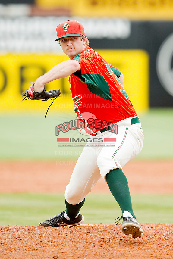 Greensboro Grasshoppers relief pitcher Kevin Cravey #31 in action against the Kannapolis Intimidators at NewBridge Bank Park on May 16, 2012 in Greensboro, North Carolina.  The Grasshoppers defeated the Intimidators 10-8 in 11 innings.  (Brian Westerholt/Four Seam Images)