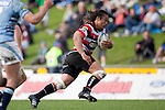 Tana Umaga makes a midfield  break during the ITM Cup rugby game between Counties Manukau Steelers and Northland, played at Bayer Growers Stadium, Pukekohe, on Sunday September 26th 2010..The Counties Manukau Steelers won 40 - 24 after leading 27 - 7 at halftime.