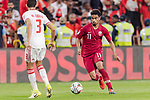 Akram Hassan Afif of Qatar (R) in action during the AFC Asian Cup UAE 2019 Semi Finals match between Qatar (QAT) and United Arab Emirates (UAE) at Mohammed Bin Zaied Stadium  on 29 January 2019 in Abu Dhabi, United Arab Emirates. Photo by Marcio Rodrigo Machado / Power Sport Images
