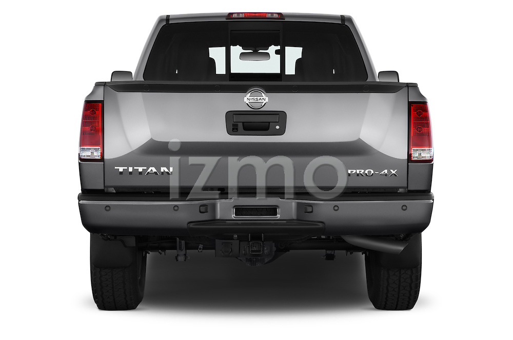 Straight rear view of a 2014 Nissan Titan PRO 4-X King Cab 2WD 2 Door Truck Rear View  stock images