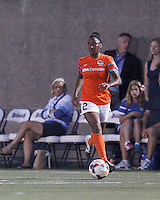 Allston, Massachusetts - August 17, 2014:  In a National Women's Soccer League (NWSL) match, Boston Breakers (blue) defeated Houston Dash (orange/white), 1-0, at Harvard Stadium.