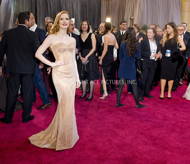 WWW.ACEPIXS.COM....February 24 2013, LA....Jessica Chastain arriving at the 85th Annual Academy Awards at Hollywood & Highland Center on February 24, 2013 in Hollywood, California. ......By Line: Z13/ACE Pictures......ACE Pictures, Inc...tel: 646 769 0430..Email: info@acepixs.com..www.acepixs.com