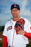 Salem Red Sox pitcher Bryan Mata (34) poses for a photo before a game against the Lynchburg Hillcats on May 10, 2018 at Haley Toyota Field in Salem, Virginia.  Lynchburg defeated Salem 11-5.  (Mike Janes/Four Seam Images)