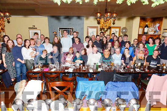 Mike O'Shea seated front centre from OTW, Cahersiveen celebrated his 60th birthday with family and friends in Eva's Bar & Restaurant in Cahersiveen on Saturday night.