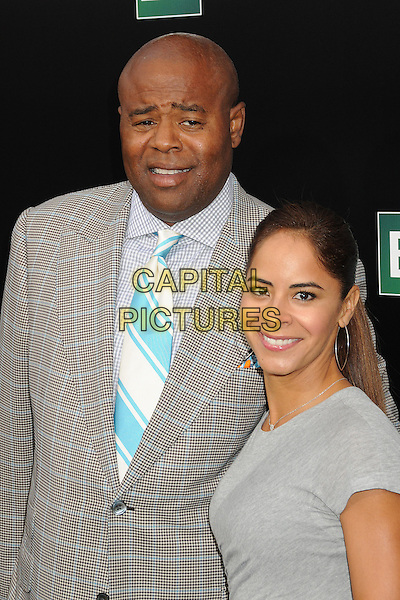 Chi McBride, Julissa McBride<br /> &quot;Breaking Bad&quot; Final Episodes Los Angeles Premiere Screening held at Sony Pictures Studios, Culver City, California, USA, 24th July 2013.<br /> portrait headshot grey gray checked plaid jacket suit dress tie couple married husband wife <br /> CAP/ADM/BP<br /> &copy;Byron Purvis/AdMedia/Capital Pictures