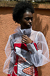 KIGALI, RWANDA NOVEMBER 6: A model fits a dress by the Ugandan designer Santa Anzo, and her label Arapapa by Santa Anzo a few days before the gala night at Kigali Fashion week on November 6, 2014 held at Kigali City Towers in Kigali, Rwanda. Designers from Rwanda, Burundi and Uganda showed their latest collections at the yearly event. (Photo by: Per-Anders Pettersson)