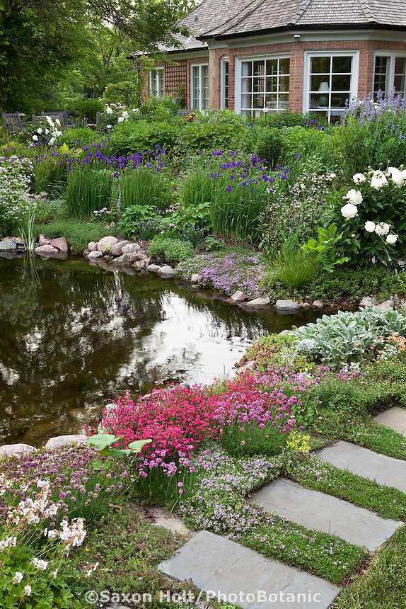 Backyard pond with stepping stone path and perennial garden; Barrington Hills, Illinois garden