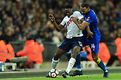 7th January 2018, Wembley Stadium, London, England;  FA Cup football, 3rd round, Tottenham Hotspur versus AFC Wimbledon; Victor Wanyama of Tottenham Hotspur battles with Liam Trotter of AFC Wimbledon