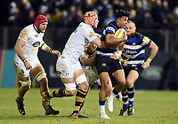 Anthony Watson of Bath Rugby takes on the Wasps defence. Aviva Premiership match, between Bath Rugby and Wasps on December 29, 2017 at the Recreation Ground in Bath, England. Photo by: Patrick Khachfe / Onside Images