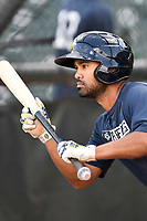 Second baseman Giovanny Alfonzo (6) of the Columbia Fireflies squares around to bunt during batting practice before a game against the Charleston RiverDogs on Wednesday, August 29, 2018, at Spirit Communications Park in Columbia, South Carolina. Charleston won, 6-1. (Tom Priddy/Four Seam Images)