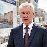 Moscow Mayor Sergei Sobyanin visits the Triumph Square. This is one of the central squares of Moscow, which conducted large-scale reconstruction. 2015