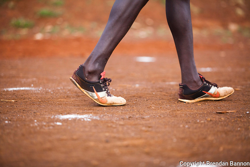 Athletes train on a dirt track in Iten, Kenya. The track is far from the standards of the high tech training grounds and all weather tracks of Europe and America. Yet, increasingly speed work is part of  the training for long distance races that has seen a revolution in marathon times since 2009. Young Kenyan runners  shifting from track to distance running are leading the revolution.