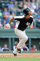 Outfielder Nick Williams (1) of the Hickory Crawdads in a game against the Greenville Drive on Friday, June 7, 2013, at Fluor Field at the West End in Greenville, South Carolina. Williams is the No. 25 prospect of the Texas Rangers, according to Baseball America and was a second-round pick in the 2012 First-Year Player Draft. Greenville won the resumption of this May 22 suspended game, 17-8. (Tom Priddy/Four Seam Images)
