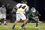 Placentia, CA 05/14/10 - Ryan Kole (MC # 5) and Taylor DeBerry (Foothill # 5) in action during the Mira Costa vs Foothill boys lacrosse game for the 2010 Los Angeles / Orange County CIF Championship.