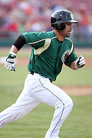 August 15 2008:  D.J. Hollingsworth of the Kane County Cougars, Class-A affiliate of the Oakland Athletics, during a game at Philip B. Elfstrom Stadium in Geneva, IL.  Photo by:  Mike Janes/Four Seam Images