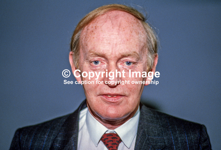 Michael O'Kennedy, TD, Fianna Fail, Rep of Ireland, 19860406MOK..Copyright Image from Victor Patterson, 54 Dorchester Park, Belfast, UK, BT9 6RJ..Tel: +44 28 9066 1296.Mob: +44 7802 353836.Voicemail +44 20 8816 7153.Skype: victorpattersonbelfast.Email: victorpatterson@mac.com.Email: victorpatterson@ireland.com (back-up)..IMPORTANT: If you wish to use this image or any other of my images please go to www.victorpatterson.com and click on the Terms & Conditions. Then contact me by email or phone with the reference number(s) of the image(s) concerned.
