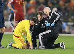 Wales' Joe Allen receives treatment after a clash with Belgium's Marouane Fellaini<br /> <br /> - European Qualifier - Belgium vs Wales- Heysel Stadium - Brussels - Belgium - 16th November 2014  - Picture David Klein/Sportimage