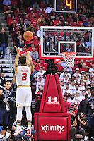 Melo Trimble of the Terrapins drains a 3 point shot. Maryland defeated Georgetown 75-71 during a game at Xfinity Center in College Park, MD on Wednesday, November 17, 2015.  Alan P. Santos/DC Sports Box
