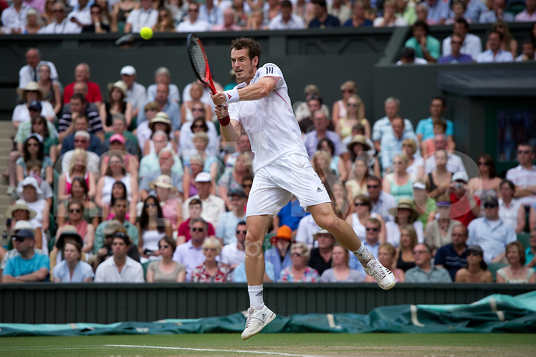 Andy Murray (GBR) plays against Rafael Nadal (ESP) on Centre Court. The Wimbledon Championships 2010 The All England Lawn Tennis & Croquet Club  Day 11 Friday 02/07/2010