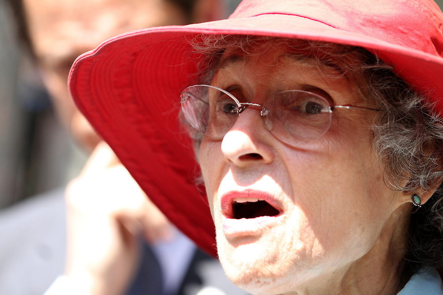 Anthony Weiner along with his mother Frances Weiner speak to the media during a campaign stop outside of Brooklyn Technical High School on Thursday, August 15, 2013 in New York. (AP Photo/ Donald Traill)