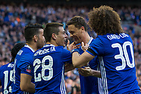 Chelsea's Nemanja Matic (2nd right) celebrates with team mates after scoring his sides fourth goal    <br /> <br /> <br /> Photographer Craig Mercer/CameraSport<br /> <br /> Emirates FA Cup Semi-Final - Chelsea v Tottenham Hotspur - Saturday 22nd April 2017 - Wembley Stadium - London<br />  <br /> World Copyright &copy; 2017 CameraSport. All rights reserved. 43 Linden Ave. Countesthorpe. Leicester. England. LE8 5PG - Tel: +44 (0) 116 277 4147 - admin@camerasport.com - www.camerasport.com