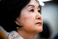 Mrs. Kim Jung-sook listens to US President Donald J. Trump (not pictured) in the Oval Office of the White House in Washington, DC, USA, 11 April 2019. President Moon is expected to ask President Trump to reduce sanctions on North Korea in an attempt to jump start nuclear negotiations between North Korea and the US.<br /> Credit: Jim LoScalzo / Pool via CNP/AdMedia