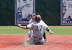 April 28, 2012:   Fresno State Bulldogs Jordan Luplow is tagged out at second attempting to steal as Nevada Wolf Pack's Joe Kohan makes the tag during their NCAA baseball game played at Peccole Park on Saturday afternoon in Reno, Nevada.