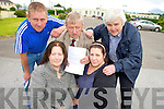 """Killarney residents Anna Kidney, Adriana Batricevic, Donal """"Whitty"""" O'Sullivan and Eddie O'Brien, pictured with Killarney Mayor Cllr Donal Grady, who are campaigning to have the statue reinstated at Killarney Community Hospital following a decision by An Bord Plannala the week."""