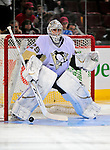 3 February 2009: Pittsburgh Penguins' goaltender Marc-Andre Fleury warms up prior to facing the Montreal Canadiens at the Bell Centre in Montreal, Quebec, Canada. The Canadiens defeated the Penguins 4-2. ***** Editorial Sales Only ***** Mandatory Photo Credit: Ed Wolfstein Photo
