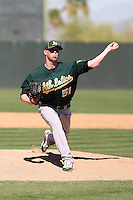 Anthony Huttenlocker #51 of the Oakland Athletics plays in a minor league spring training game against the San Francisco Giants at Papago Park on March 31, 2011 in Phoenix, Arizona. .Photo by:  Bill Mitchell/Four Seam Images.