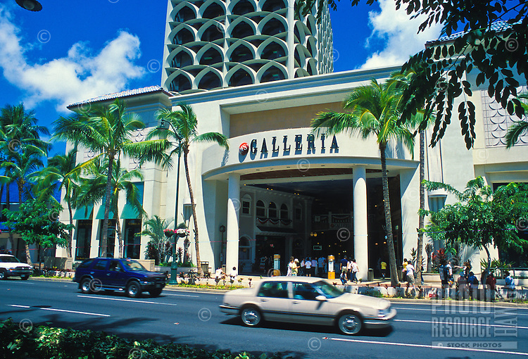 The Galleria is one of many unique places for visitors to enjoy their  shopping experience.  Located along Kalakaua Ave. near waikiki beach.