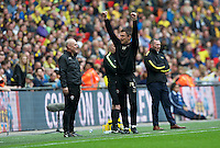 Caretaker Head Coach Paul Heckingbottom of Barnsley celebrates their win by 3-2 in he Johnstone's Paint Trophy Final match between Oxford United and Barnsley at Wembley Stadium, London, England on 3 April 2016. Photo by Alan  Stanford / PRiME Media Images.