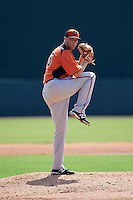 Baltimore Orioles pitcher Garrett Cleavinger (35) during an instructional league game against the Minnesota Twins on September 22, 2015 at Ed Smith Stadium in Sarasota, Florida.  (Mike Janes/Four Seam Images)
