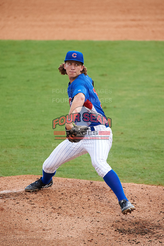 Pitcher Skylar Szynski (15) of Penn High School in Granger, Indiana playing for the Chicago Cubs scout team during the East Coast Pro Showcase on July 29, 2015 at George M. Steinbrenner Field in Tampa, Florida.  (Mike Janes/Four Seam Images)