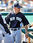 8 March 2011: New York Yankees' Manager Joe Girardi stands in the dugout during a Spring Training game against the Atlanta Braves at Champion Park in Orlando, Florida. The Yankees edged out the Braves 5-4 in Grapefruit League action. Mandatory Credit: Ed Wolfstein Photo