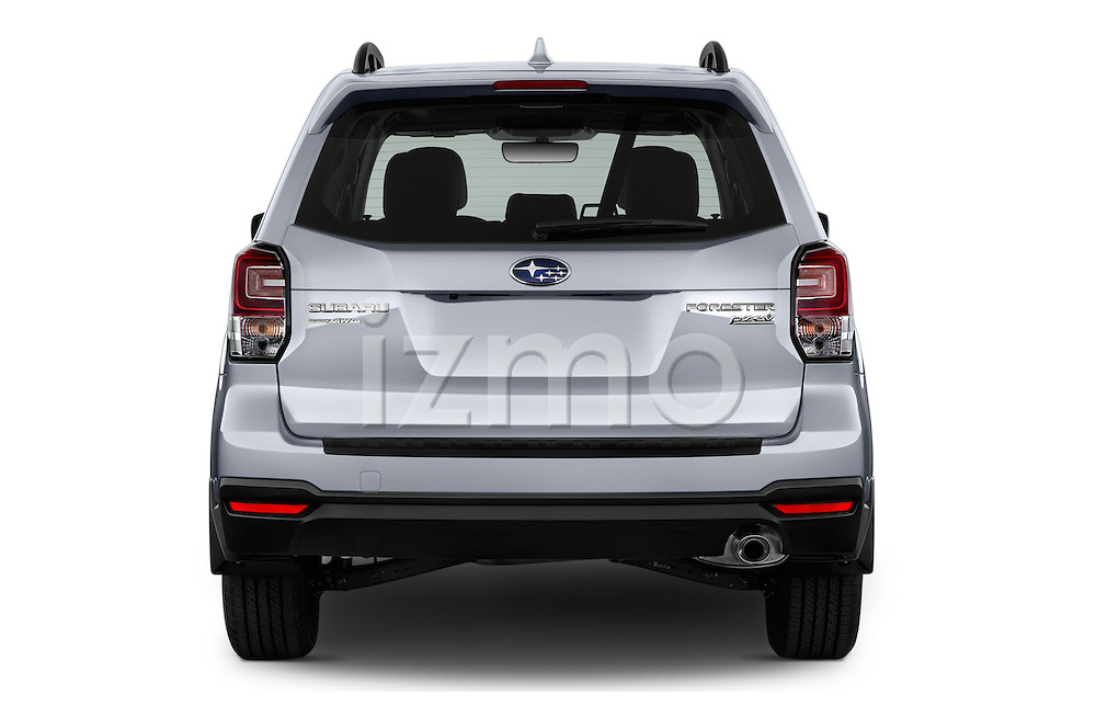 Straight rear view of 2017 Subaru Forester 2.5i-Limited-CVT 5 Door SUV Rear View  stock images