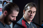 Spain David de Gea and coach Julen Lopetegui during press conference the day before Spain and Argentina match at Wanda Metropolitano in Madrid , Spain. March 26, 2018. (ALTERPHOTOS/Borja B.Hojas)