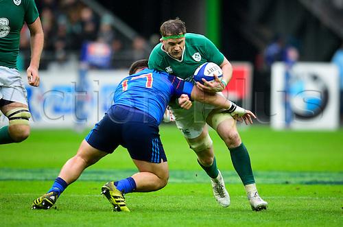 13.02.2016. Stade de France, Paris, France. 6 Nations Rugby international. France versus Ireland. Rabah Slimani ( France )  with the tackle