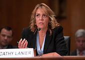 "Cathy Lanier, Senior Vice President of Security, National Football League, testifies before the United States Senate Committee on Homeland Security and Governmental Affairs during its hearing on ""Evolving Threats to the Homeland"" on Capitol Hill in Washington, DC on Thursday, September 13, 2018.<br /> Credit: Ron Sachs / CNP"