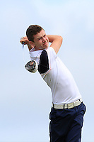 Andrew McGee (Powerscourt) on the 6th tee during the Quarter Finals of The South of Ireland in Lahinch Golf Club on Tuesday 29th July 2014.<br /> Picture:  Thos Caffrey / www.golffile.ie