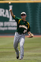 Baylor Bears outfielder Adam Toth #15 warms up before the NCAA Regional baseball game against Oral Roberts University on June 3, 2012 at Baylor Ball Park in Waco, Texas. Baylor defeated Oral Roberts 5-2. (Andrew Woolley/Four Seam Images)
