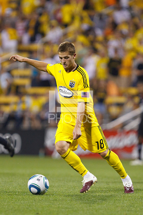 26 JUNE 2010:  Robbie Rogers of the Columbus Crew (18) during MLS soccer game between DC United vs Columbus Crew at Crew Stadium in Columbus, Ohio on May 29, 2010. The Crew defeated DC United 2-0.