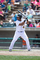 Juan De La Cruz (44) of the Lynchburg Hillcats at bat against the Frederick Keys at Calvin Falwell Field at Lynchburg City Stadium on May 14, 2015 in Lynchburg, Virginia.  The Hillcats defeated the Keys 6-3.  (Brian Westerholt/Four Seam Images)